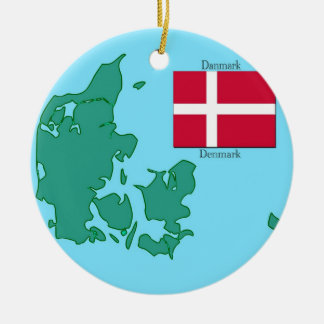 Flag and Map of Denmark Christmas Ornament