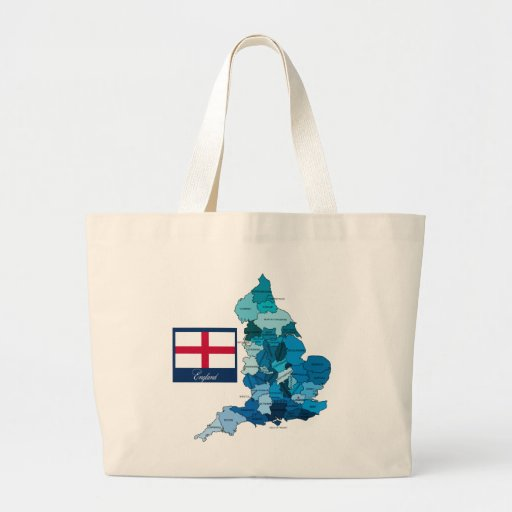 Flag and Map of England Tote Bags