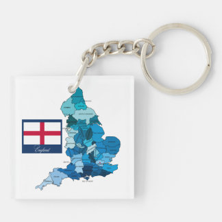 Flag and Map of England Double-Sided Square Acrylic Key Ring