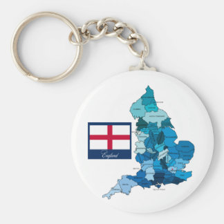 Flag and Map of England Keychains