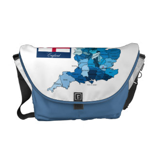 Flag and Map of England Courier Bags