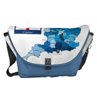 Flag and Map of England Courier Bag