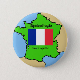 Flag and Map of France 6 Cm Round Badge