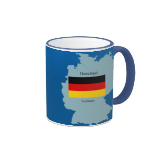 Flag and Map of Germany Coffee Mugs