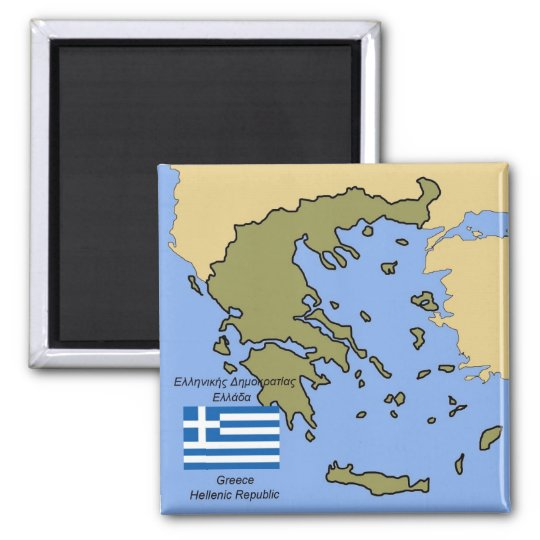 Flag and Map of Greece Square Magnet