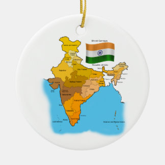 Flag and Map of India Christmas Ornament