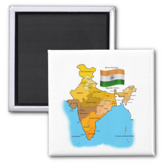 Flag and Map of India Square Magnet