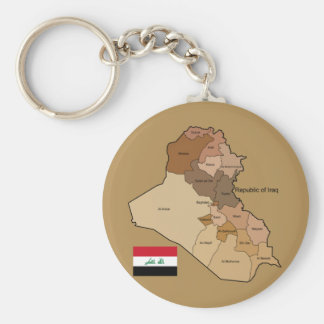 Flag and Map of Iraq Basic Round Button Key Ring