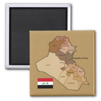 Flag and Map of Iraq Square Magnet