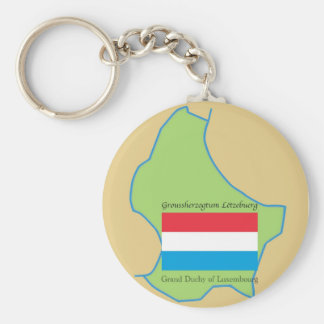 Flag and Map of Luxembourg Key Ring