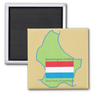 Flag and Map of Luxembourg Magnet
