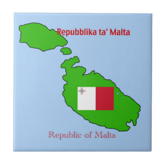 Flag and Map of Malta Small Square Tile