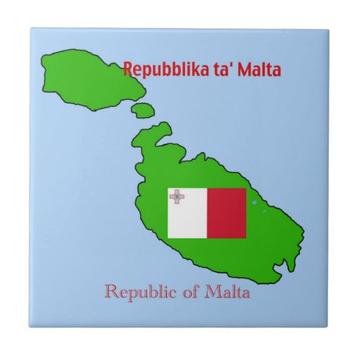 Flag and Map of Malta Tiles