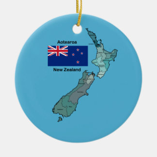Flag and Map of New Zealand Christmas Ornament