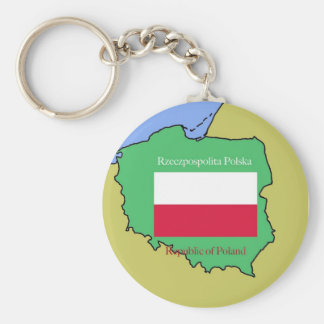 Flag and Map of Poland Key Ring