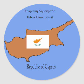 Flag and Map of Republic of Cyprus Classic Round Sticker