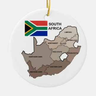 Flag and Map of South Africa Christmas Ornament