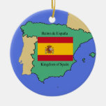 Flag and Map of Spain Double-Sided Ceramic Round Christmas Ornament