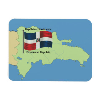Flag and Map of the Dominican Republic Magnet