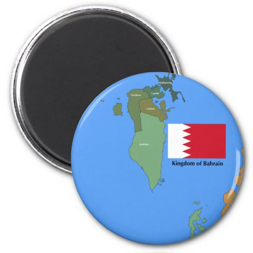 Flag and Map of the Kingdom of Bahrain Fridge Magnet