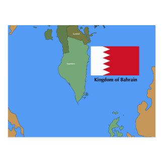 Flag and Map of the Kingdom of Bahrain Postcard