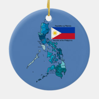 Flag and Map of the Philippines Round Ceramic Decoration