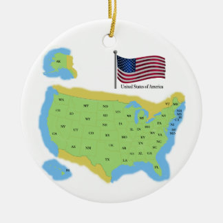 Flag and Map of the USA Christmas Ornament