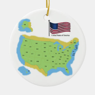 Flag and Map of USA Christmas Ornament