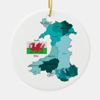 Flag and Map of Wales Christmas Ornament