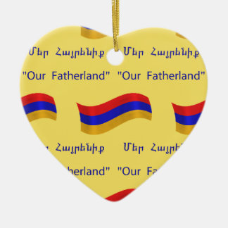 Flag and National Anthem of Armenia Ceramic Heart Decoration
