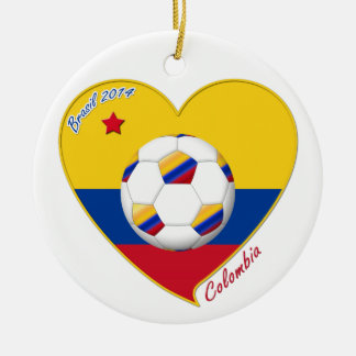 Flag and national team of COLOMBIA SOCCER 2014 Round Ceramic Decoration