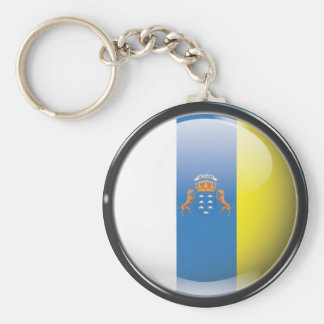 Flag and shield of Canary Islands Basic Round Button Key Ring