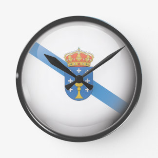 Flag and shield of Galicia Round Clock