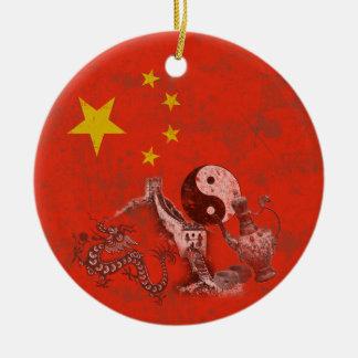 Flag and Symbols of China ID158 Christmas Ornament