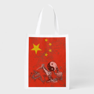 Flag and Symbols of China ID158 Reusable Grocery Bag