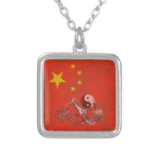 Flag and Symbols of China ID158 Silver Plated Necklace