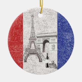 Flag and Symbols of France ID156 Round Ceramic Decoration