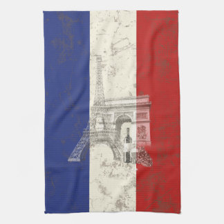 Flag and Symbols of France ID156 Tea Towel