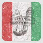 Flag and Symbols of Italy Square Sticker