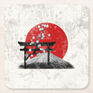 Flag and Symbols of Japan ID153 Square Paper Coaster