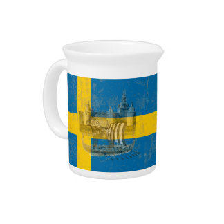 Flag and Symbols of Sweden ID159 Pitcher