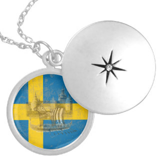 Flag and Symbols of Sweden ID159 Silver Plated Necklace