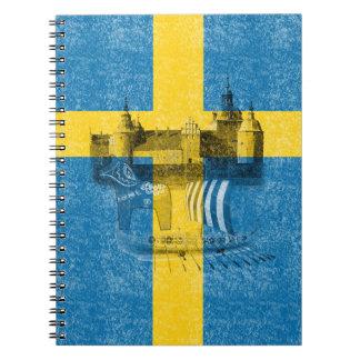 Flag and Symbols of Sweden ID159 Spiral Notebook