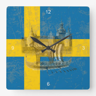 Flag and Symbols of Sweden ID159 Square Wall Clock