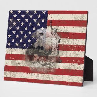 Flag and Symbols of United States ID155 Plaque