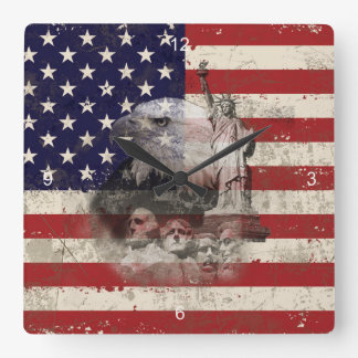Flag and Symbols of United States ID155 Square Wall Clock
