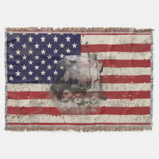 Flag and Symbols of United States ID155 Throw Blanket