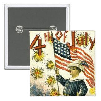 Flag Boy 4th of July 15 Cm Square Badge