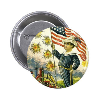 Flag Boy 4th of July Button