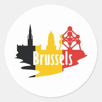 Flag Brussels Classic Round Sticker